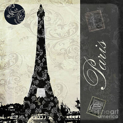 Paris Painting - Moon Over Paris Postcard by Mindy Sommers