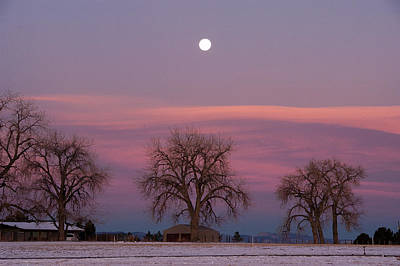 Photograph - Moon Over Pink Llouds by Monte Stevens