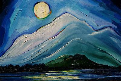 Painting - Moon Over Pioneer Peak by Misuk Jenkins