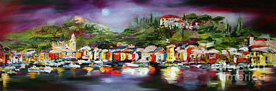 Portofino Italy Painting - Moon Over Portofino Italy Oil Painting by Ginette Callaway