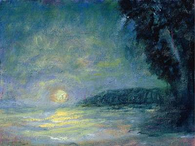 Painting - Moon Over Pt Dume by Joe Leahy