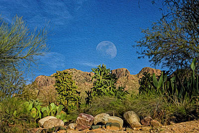 Mark Myhaver Royalty Free Images - Moon Over Pusch Ridge op31 Royalty-Free Image by Mark Myhaver