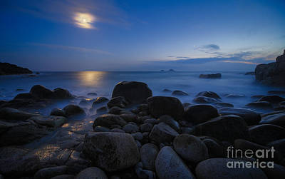 Moon Over Rocks At The Shore Art Print by Royce Howland