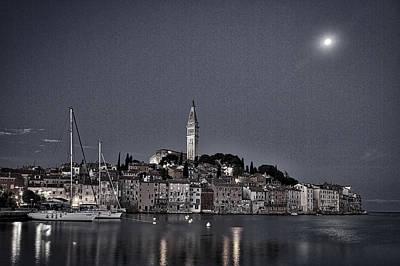 Photograph - Moon Over Rovinj - Croatia by Stuart Litoff