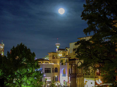Photograph - Moon Over San Antonio by Allen Sheffield