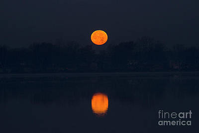 Photograph - Moon Over Shipshewana Lake by David Arment