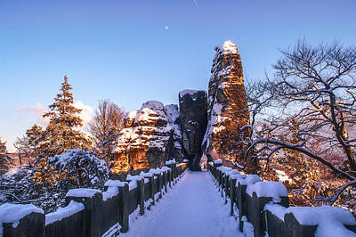 Photograph - Moon Over Snowy Bastei Bridge by Jenny Rainbow