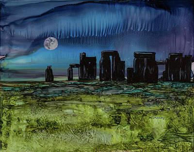 Moon Over Stonehenge Original by Katherine Massey