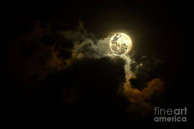 Moon Over Sunset Clouds By Kaye Menner Art Print by Kaye Menner