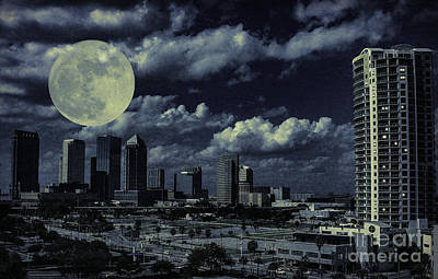 Photograph - Moon Over Tampa Two by Ken Frischkorn