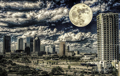 Photograph - Moon Over Tampa One by Ken Frischkorn