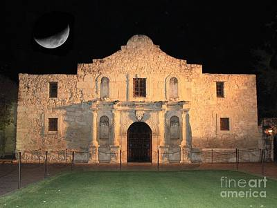 Landmarks Royalty Free Images - Moon over the Alamo Royalty-Free Image by Carol Groenen