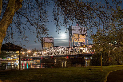 Photograph - Moon Over The Blue Bridge by Brad Stinson
