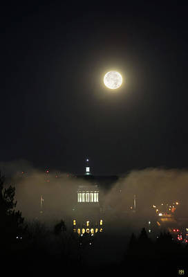 Photograph - Moon Over The Capital Dome by John Meader