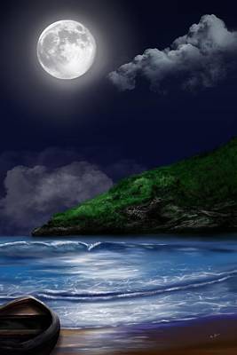 Digital Art - Moon Over The Cove by Mark Taylor