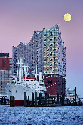 Photograph - Moon Over The Elbe Philharmonic Hall by Marc Huebner