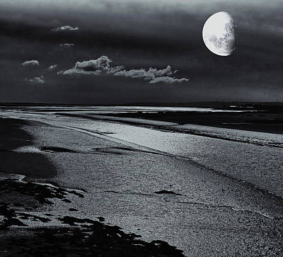 Airport Maps - Moon over the Estuary Monochrome by Jeff Townsend