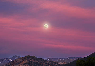 Moon Over The High Mountains At Sunset Art Print