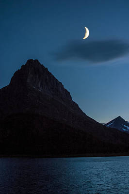 Photograph - Moon Over The Mountains At Lake Sherburne In Glacier National Park by Randall Nyhof