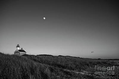 Go For Gold - Moon over The North Light by Diane Diederich
