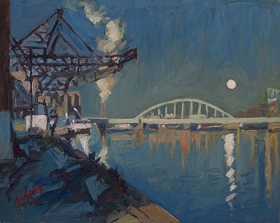 Painting - Moon Over The Railway Bridge Maastricht by Nop Briex