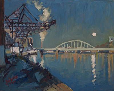Sint Servaasbrug Painting - Moon Over The Railway Bridge Maastricht by Nop Briex