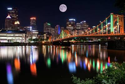 Moon Over The Steel City Art Print