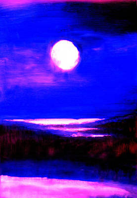 moon over the Stillwater river  Art Print
