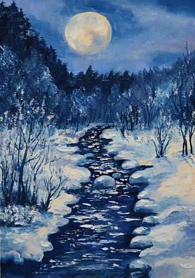 Moon Over The Stream In The Winter Night Original