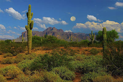 Moon Over The Superstition Mtn Art Print by Brian Lambert