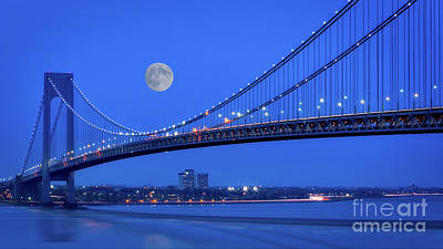 Photograph - Moon Over The Verrazno Bridge by Jerry Fornarotto