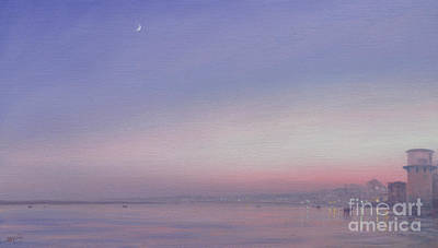 Indian River Painting - Moon Over Varanasi by Derek Hare