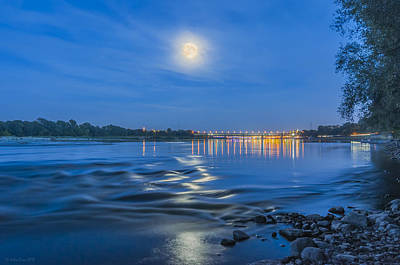 Photograph - Moon Over Vistula River In Warsaw by Julis Simo