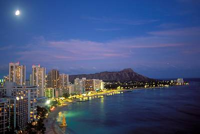 Location Art Photograph - Moon Over Waikiki by William Waterfall - Printscapes