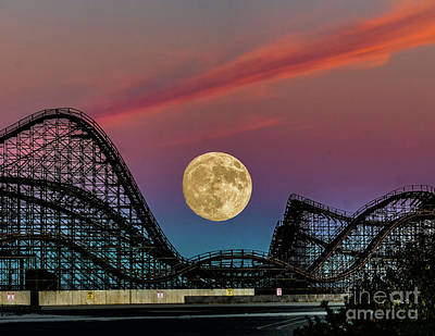 Beach Royalty-Free and Rights-Managed Images - Moon over Wildwood NJ by Nick Zelinsky