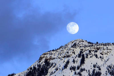 Photograph - Moon Over Yellowstone by Jack Bell