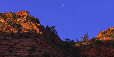 Zion National Park Photograph - Moon Over Zion by Chad Dutson