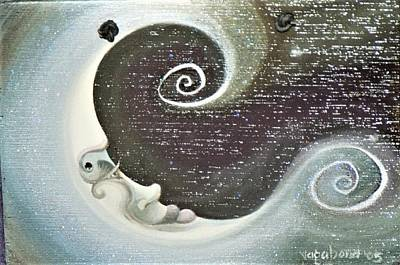 Painting - Moon Painting Vagabond 2005 by Suzn Art Memorial