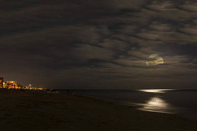 Photograph - Moon Peeking Through Clouds by Gej Jones