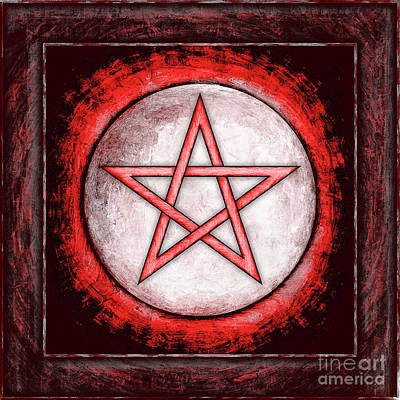 Moon Pentagram Red Art Print
