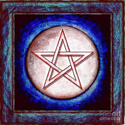 Pentacle Digital Art - Moon Pentagram - Red Shining by Dirk Czarnota