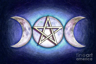 Luna Mixed Media - Moon Pentagram - Tripple Moon 1 by Dirk Czarnota