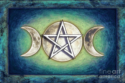 Luna Mixed Media - Moon Pentagram - Tripple Moon 2 by Dirk Czarnota