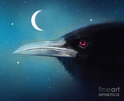 Raven Digital Art - Moon Raven by Robert Foster