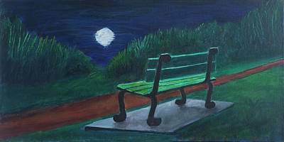 Nightscapes Painting - Moon Reflected by Edward Cardini