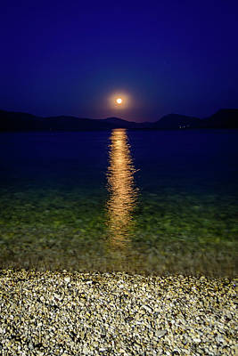 Photograph - Moon Reflects Over The Ionian Sea In Lefkada, Greece by Global Light Photography - Nicole Leffer