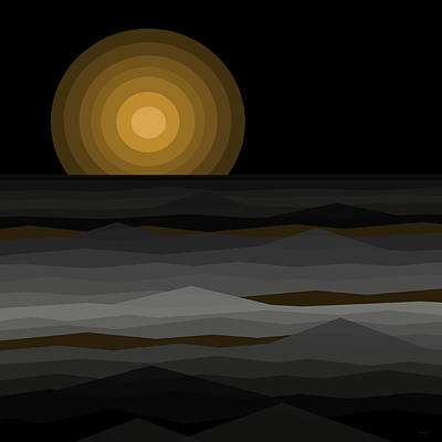 Abstract Seascape Digital Art - Moon Rise Abstract - Black And Gold by Val Arie