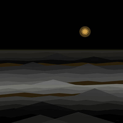 Abstract Seascape Digital Art - Moon Rise Abstract II by Val Arie