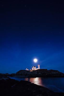 Photograph - Moon Rise Nubble Lighthouse by Jeff Folger