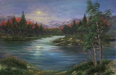 Painting - Moon Rise On The Lake by Laila Awad Jamaleldin